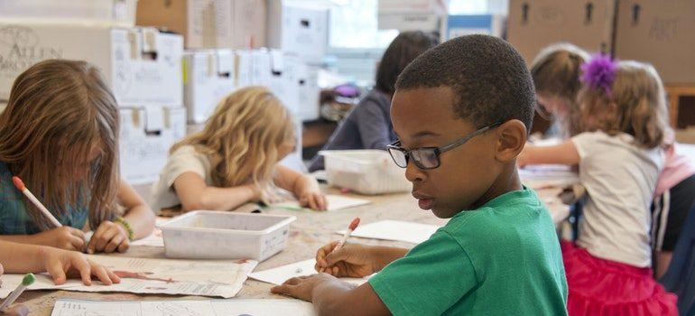 School children in a classroom.